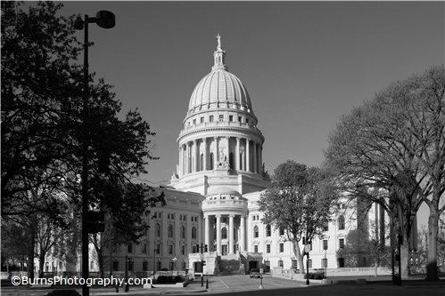 Wisconsin Capitol Black and White from East Wash Ave.