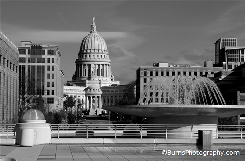 Wisconsin Capitol Monona Terrace Black and White
