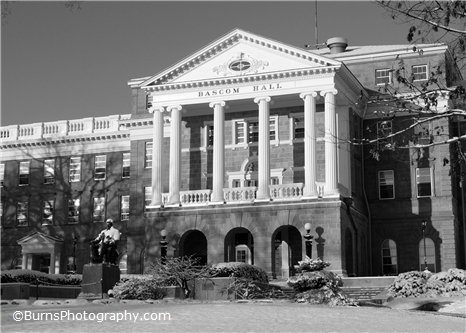 Bascom Hall Winter Black and White