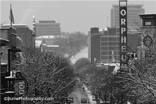 Looking Down State Street in Winter Black and White