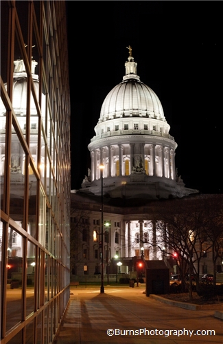 Picture of Madison WI Capitol Reflections at Night